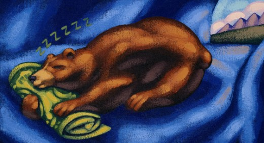 Stock Photo: 1491R-1060397 Bear sleeping in den, using rolled up paper money as pillow