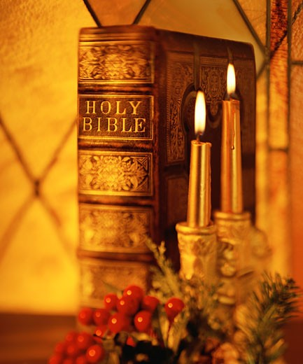 Bible and candles : Stock Photo