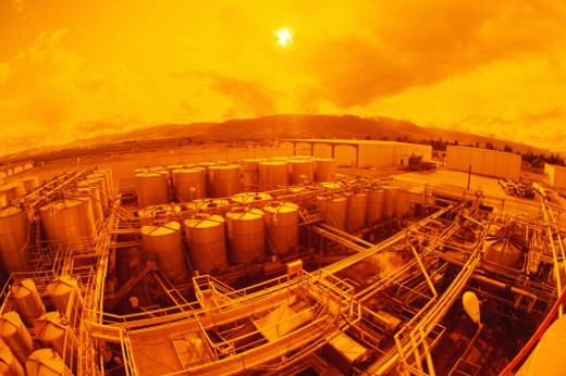 Stock Photo: 1491R-1061117 Refinery at sunset