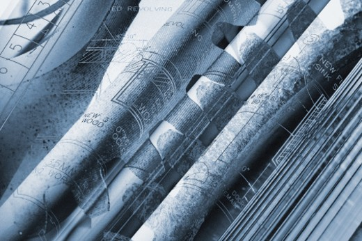 Stock Photo: 1491R-1061482 Close-up of bound & rolled diagrams