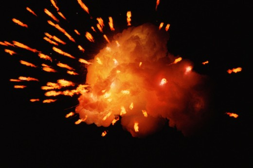 Stock Photo: 1491R-1061649 Fireball with sparks emanating