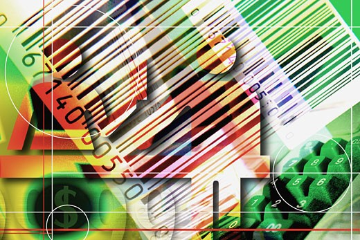 Stock Photo: 1491R-1061895 Bar codes, people & keys with lines & circles