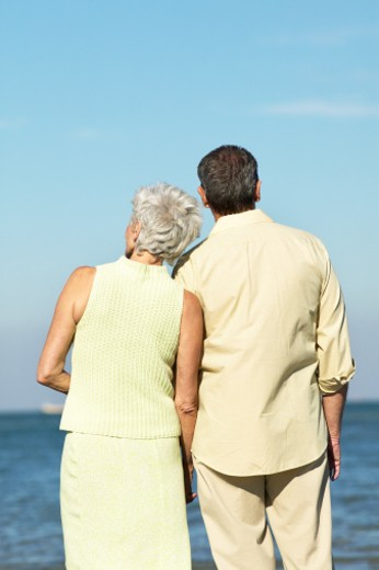 Stock Photo: 1491R-1063164 rear view of a couple looking out to sea