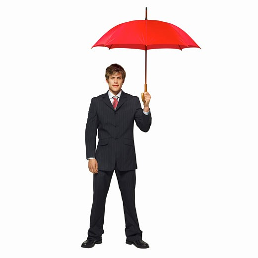 Stock Photo: 1491R-1064000 front view portrait of a businessman holding an umbrella