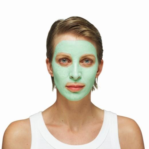 Portrait of woman wearing facial : Stock Photo