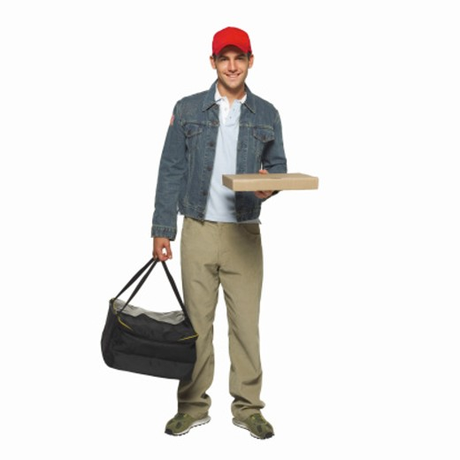 Stock Photo: 1491R-1064359 Portrait of a pizza delivery man
