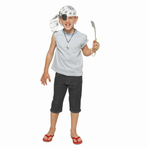 Portrait of a boy (10-11) dressed as a pirate : Stock Photo