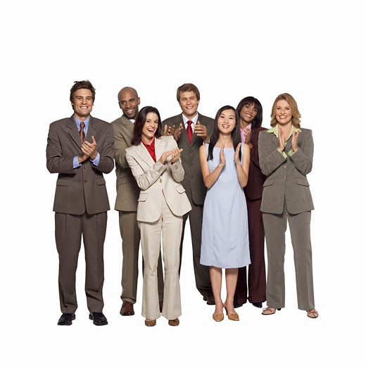 Stock Photo: 1491R-1065231 Portrait of a group of business executives applauding