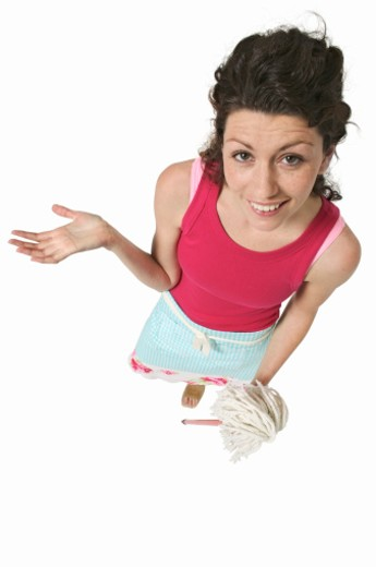 Stock Photo: 1491R-1065417 elevated view of a woman holding a mop and gesturing