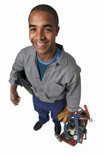 Portrait of a welder : Stock Photo