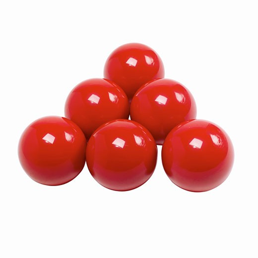 Stock Photo: 1491R-1066518 Close up of red snooker balls