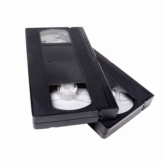 Close up of two video tapes : Stock Photo