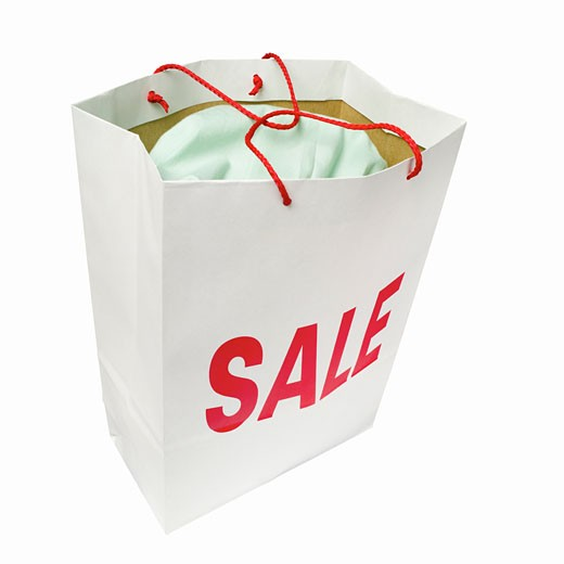 Elevated view of a sale shopping bag : Stock Photo
