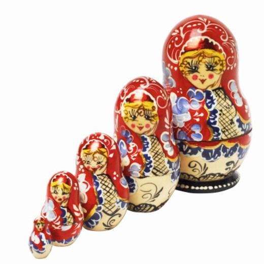 Stock Photo: 1491R-1067203 Close up view of Russian dolls in different sizes