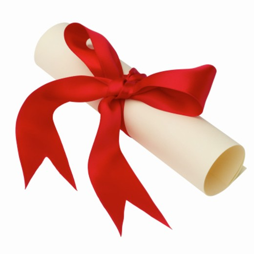 Close up of a degree scroll tied with ribbon : Stock Photo