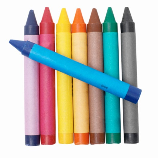 Stock Photo: 1491R-1068557 Close up of colored crayons