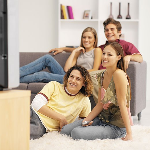 Stock Photo: 1491R-1071011 Close-up of four young people watching television