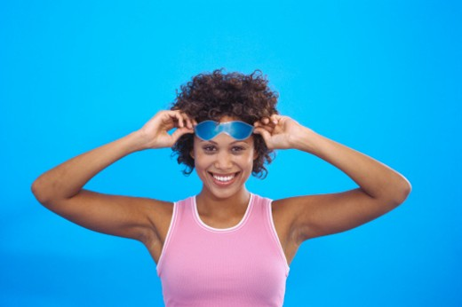 Stock Photo: 1491R-1071281 Portrait of a woman wearing an eye mask