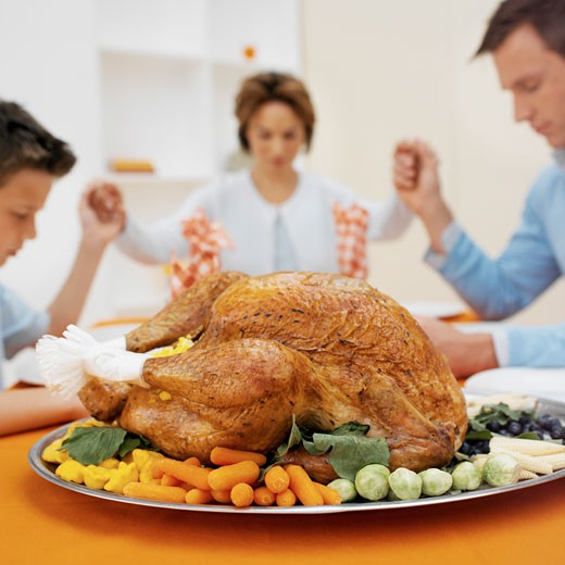 Stock Photo: 1491R-1071571 Close-up of a roast chicken and vegetables with family saying grace in the background