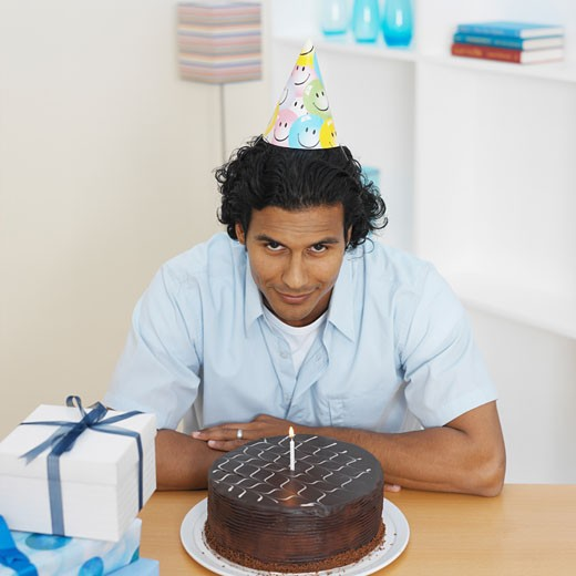 Stock Photo: 1491R-1071637 Elevated view of a man celebrating his birthday