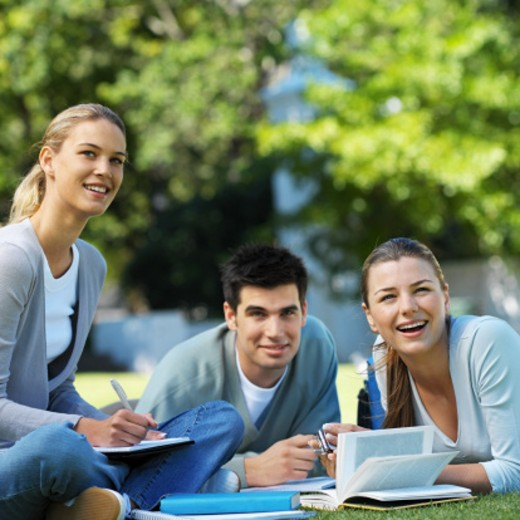 Close-up of three young people sitting on grass and studying : Stock Photo