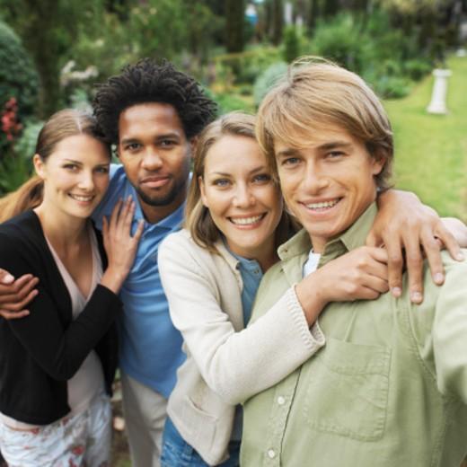Portrait of a four friends : Stock Photo