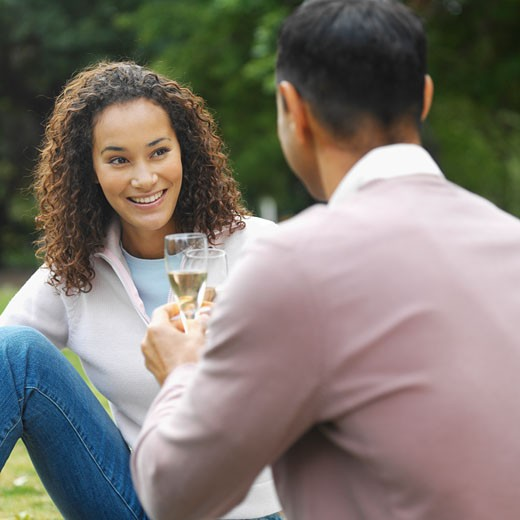 Close-up of a mid adult couple sitting in park and holding glasses of wine : Stock Photo