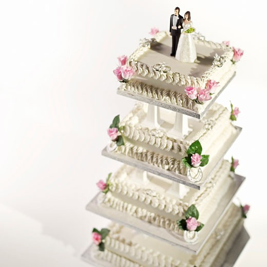 Front view of a four tier wedding cake : Stock Photo
