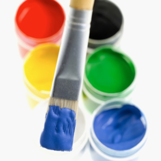Stock Photo: 1491R-1074682 artist's brush and paints