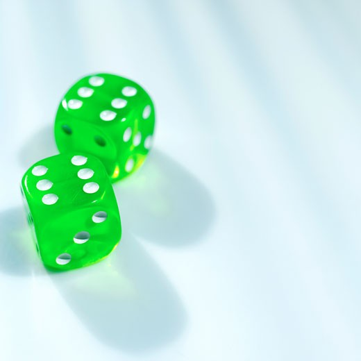 Stock Photo: 1491R-1074914 Close-up of two dices