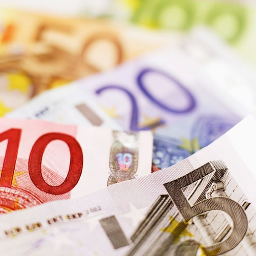 Stock Photo: 1491R-1075364 Close-up of various euro bank notes