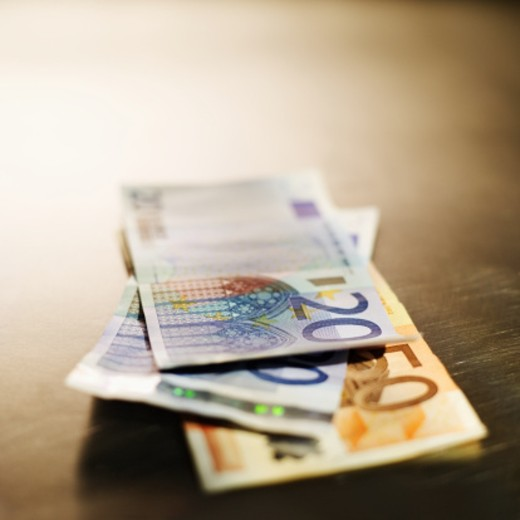 Close-up of various euro bank notes : Stock Photo