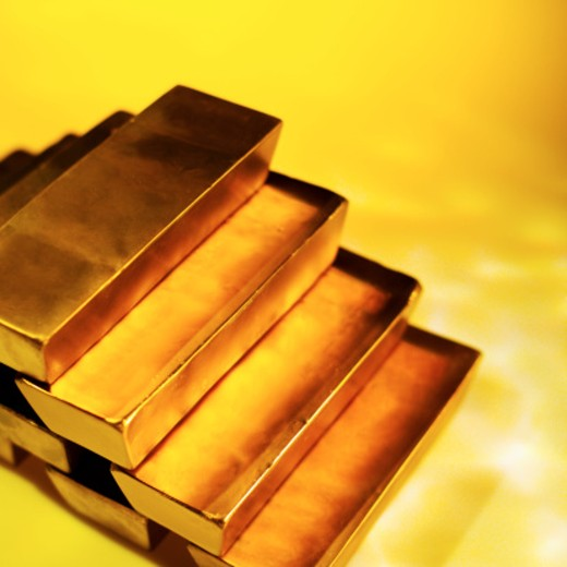 Elevated view of a stack of gold bars : Stock Photo
