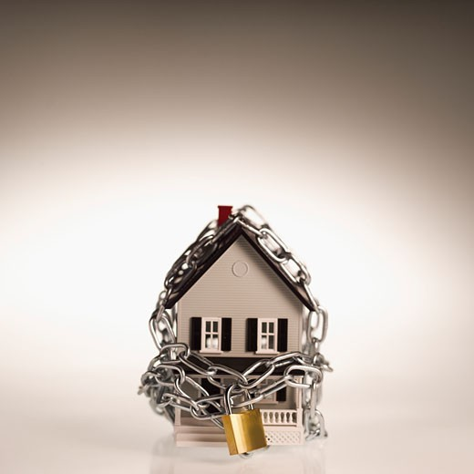 House chained and padlocked : Stock Photo
