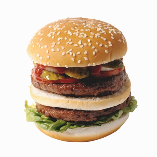Stock Photo: 1491R-1076618 Close-up of double decker burger
