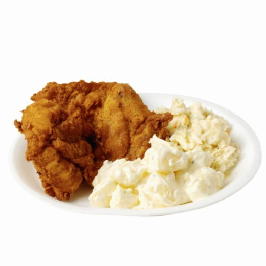 Stock Photo: 1491R-1076731 Close-up of chicken and mashed potato