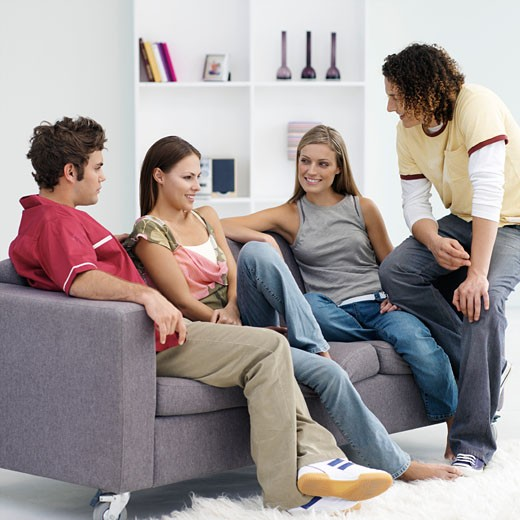 Stock Photo: 1491R-1078024 Four friends talking in living room