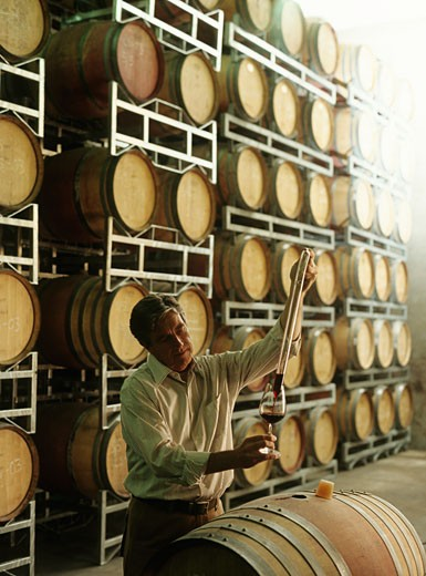Senior vintner testing wine from barrel in cellar : Stock Photo