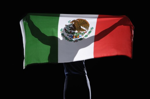 Stock Photo: 1491R-1084275 Silhouette of person holding flag of Mexico on black background