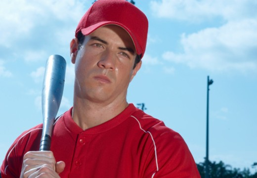 Baseball player with bat : Stock Photo