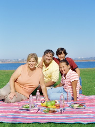 portrait of parents with their children on a picnic : Stock Photo