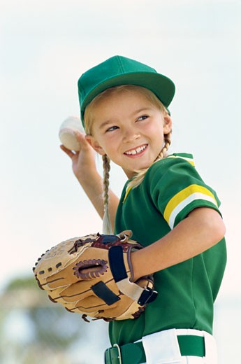 Stock Photo: 1491R-1088182 close-up of a girl throwing a ball