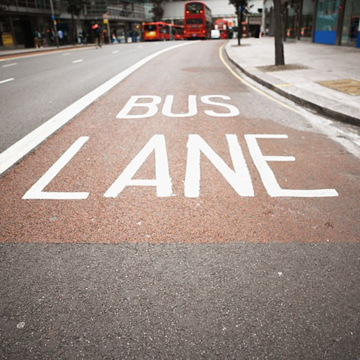 Stock Photo: 1491R-1091474 close-up of a bus lane