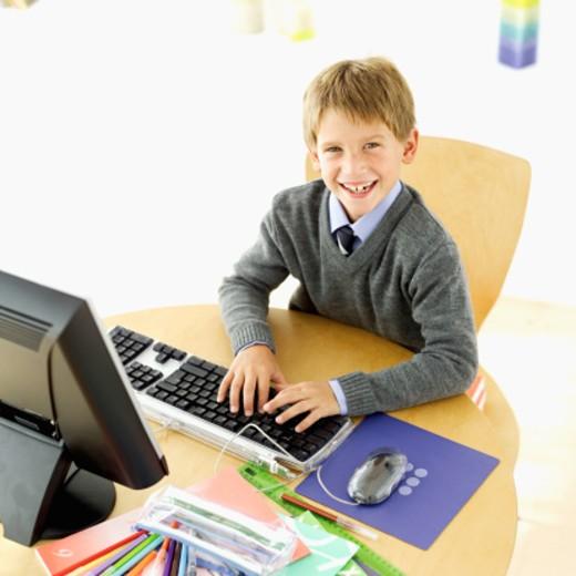 high angle view of a boy smiling : Stock Photo