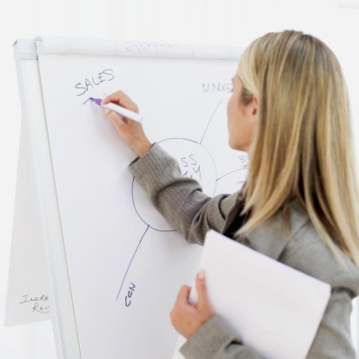 rear view of a businesswoman holding sheets of paper while drawing a flow chart : Stock Photo