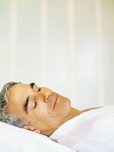 Stock Photo: 1491R-1095356 Side profile of a mature man sleeping