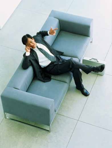 Stock Photo: 1491R-1097177 High angle view of a businessman sitting on a sofa, talking on a mobile phone