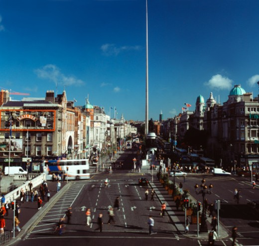 Stock Photo: 1491R-1097311 High angle view of O'Connell street with the Dublin spire in the background
