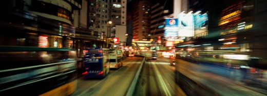 Trams on the street in Hong Kong : Stock Photo