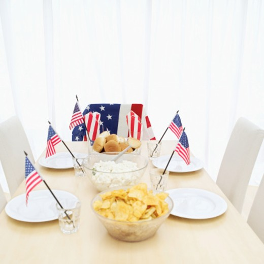 Stock Photo: 1491R-1103897 Close-up of a fourth of July meal set on a table